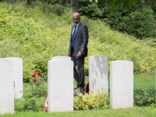 Secretary of State, Sajid Javid, at St Symphorien Cemetery.