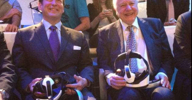Culture Minister Ed Vaizey and Sir David Attenborough trying out the latest virtual reality