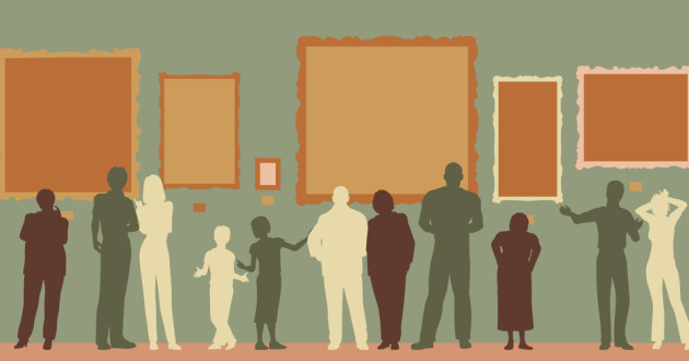 graphic of people within a museum or gallery