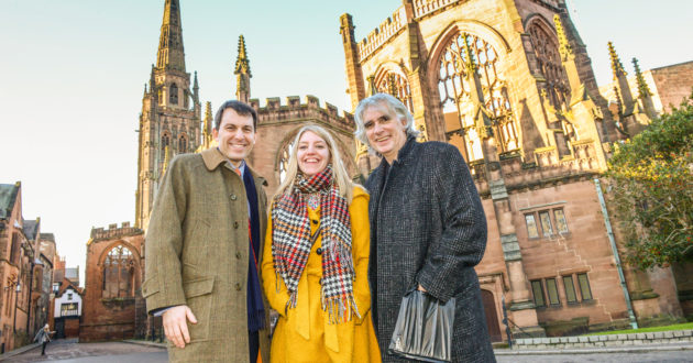 Outside Coventry Cathedral with Heritage Minister John Glen and Coventry's Laura McMillan