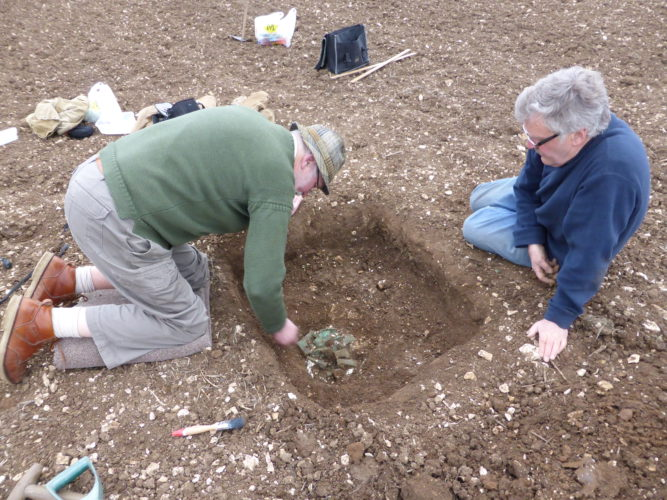 Excavation of a Bronze Age axe hoard found at Driffield, East Yorkshire by Kevin Leahy (PAS) and Dave Haldenby (metal-detectorist). This hoard is Treasure thanks to the 2002 Treasure Designation Order.