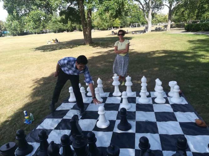 Giant chess game in park as part of UBG programme