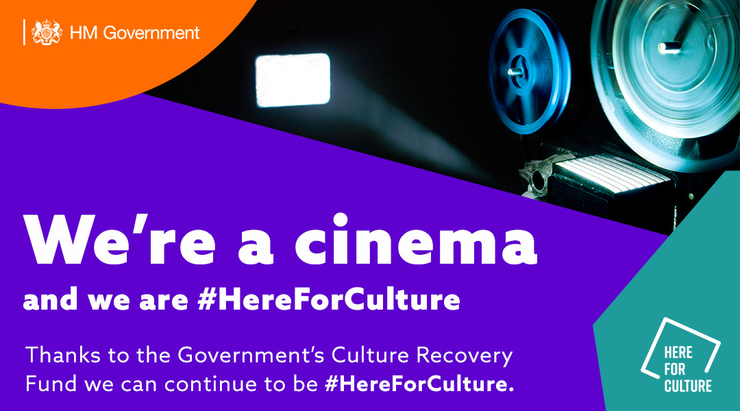We're a cinema and we are here for culture - popcorn image alongside Here for Culture branded background and logo