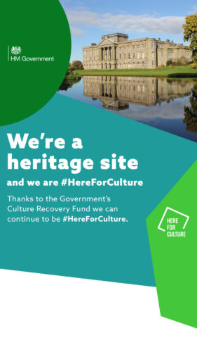 """We're a heritage site and we are here for culture"" text on a here for culture branded background with images of a heritage site"