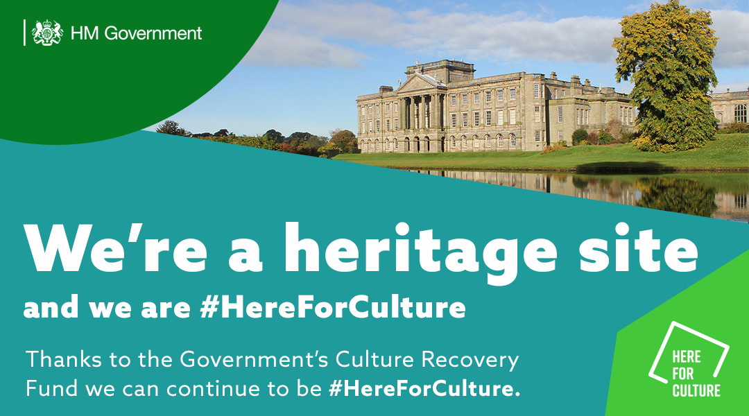 """""""We're an arts venue and we are here for culture"""" text on a here for culture branded background with images of a heritage site"""