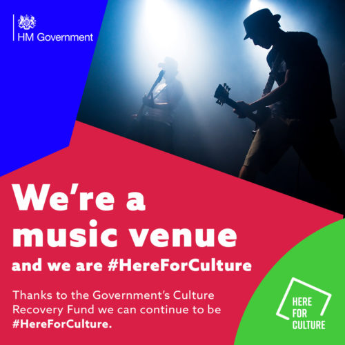"""We're a music venue and we are here for culture"" text on a here for culture branded background with images of an electric guitar player"