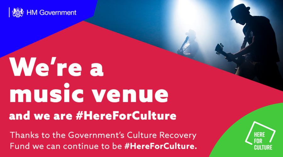 """We're an arts venue and we are here for culture"" text on a here for culture branded background with images of an electric guitar player"