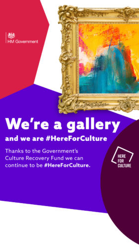 """We're an arts venue and we are here for culture"" text on a here for culture branded background with images of a painting"