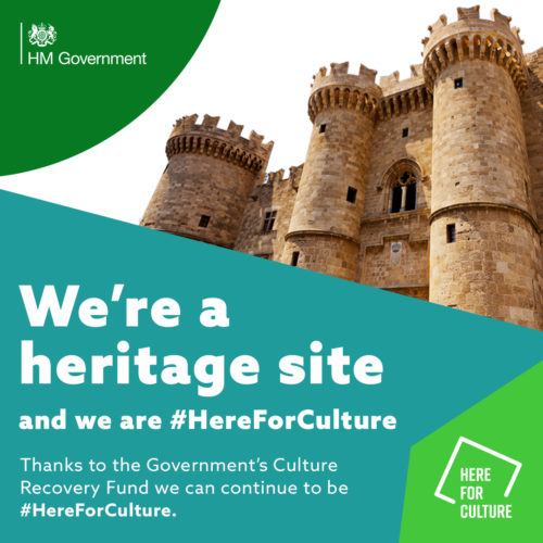 """We're an arts venue and we are here for culture"" text on a here for culture branded background with images of a heritage site"