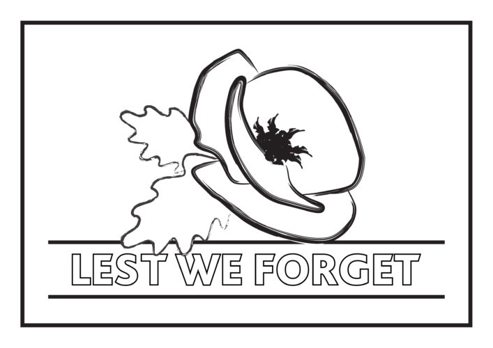 Remembrance poppy image for colouring in