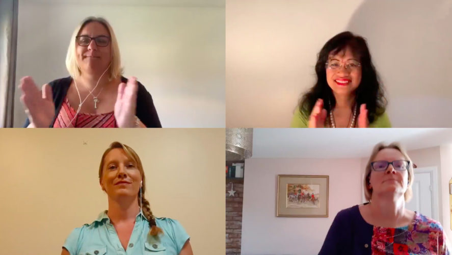 Four Military Wives Choirs singers on a zoom call
