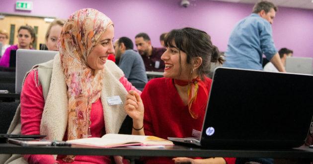 Two female digital skills students