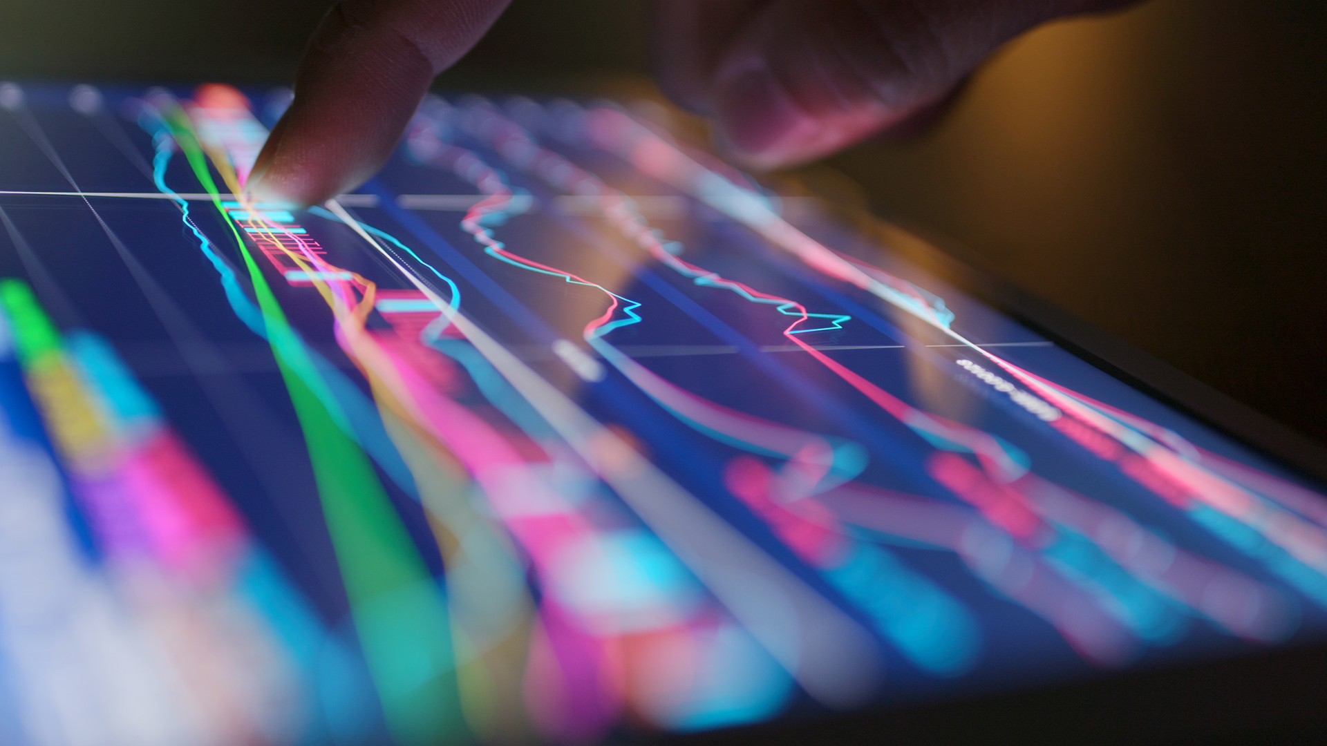 Decorative: multicoloured data graphs on a tablet