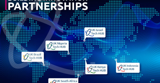 """A graphic of the world map with text that says """"Building Innovation Partnerships"""". Nigeria, Kenya, South Africa, Brazil, Indonesia and Israel have all been highlighted"""