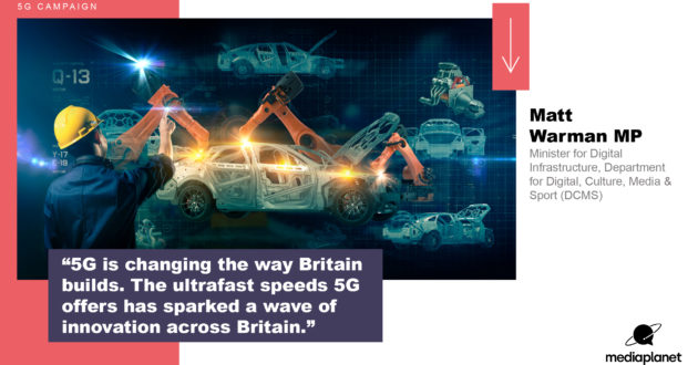 """A quote graphic with text that says """"5G is changing the way Britain builds. The ultrafast speeds 5G offers has sparked a wave of innovation across Britain. Matt Warman MP, Minister for Digital Infrastructure, Department for Digital, Culture, Media and Sport (DCMS)."""""""